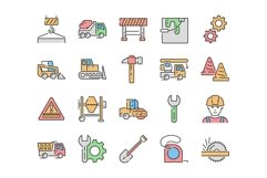 20 Construction Icons, colored and outline style Product Image 2