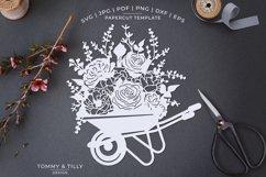 Romantic Floral Wheelbarrow - Papercut Template SVG JPG PNG Product Image 1