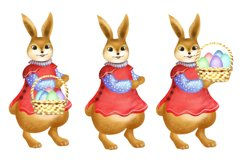 Easter Bunny Clipart with Basket of Eggs Product Image 2