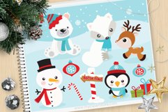 Christmas Animals Clipart, Winter - Vector Clip Art & SVG Product Image 1