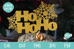 Christmas Cake Topper SVG with Snowflakes Product Image 1