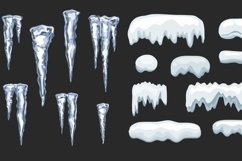 Icicles and Snow cap vector set Product Image 3