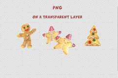 Gingerbread Clipart Sublimation design Watercolor PNG JPG Product Image 4