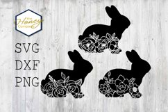 Easter Bunny Flower Cut Out SVG DXF PNG Cutting Machine File Product Image 1