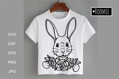 Happy Easter bunny SVG, Rabbit face with flowers Cricut Product Image 1