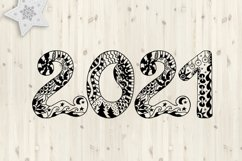 2021 Typography design. Happy New Year. Zentangle SVG PNG Product Image 1