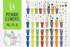 Vector collection of waste sorting clip arts, compositions Product Image 3