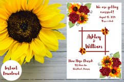 Sunflowers and Red Roses Wedding Invitation Product Image 5