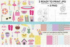 Summer digital scrapbbok papers | Pool decorative wallpaper Product Image 5