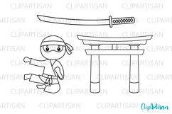 Ninja Clipart, Cute Ninjas Digital Stamps Product Image 2