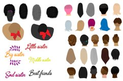 Best friends clipart Girls back view Family sisters. Besties Product Image 3