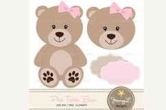 Girl Teddy Bear Digital papers and Clipart SET Product Image 2