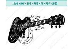 Electric guitar SVG, Guitar notes DXF, Rock music Png, Eps Product Image 1