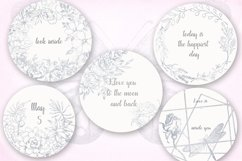 Card templates and floral illustrations in silver Product Image 6