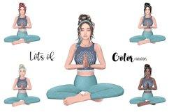 YOGA GIRL Clipart Meditation Fashion Girl Illustration Product Image 2