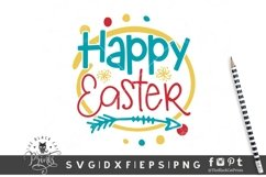 Happy Easter SVG | Easter Cut File | Easter Flowers SVG Product Image 1