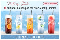 10 Realistic Drinks Patterns for 20oz SKINNY TUMBLER. Product Image 1