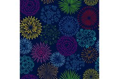 Night firework seamless pattern. Celebration fireworks vecto Product Image 1