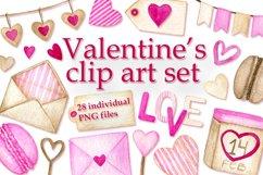Watercolor Valentine's clip art set Product Image 1