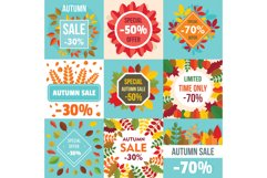 Autumn sale fall season concept set, flat style Product Image 1
