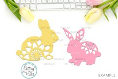 Floral Easter Bunnies set paper cut laser cut svg dxf files Product Image 4