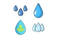 Drops icon set, cartoon style Product Image 1