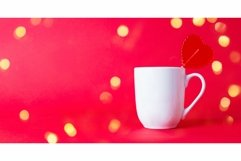 Red sweet heart shaped Lollipop in white mug Product Image 1