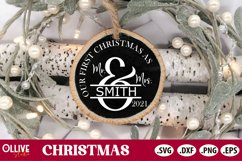 Our First Christmas SVG   Couple Christmas Ornament SVG Product Image 1