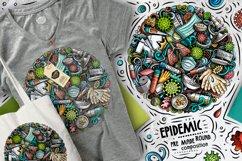 Cartoon vector doodles Epidemic round illustration Product Image 2