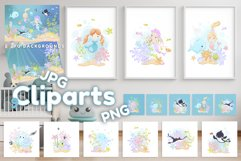 ClipArts and backgrounds -Cute cartoon marine inhabitants Product Image 1