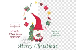 Watercolor christmas gnomes clipart, Christmas card design Product Image 2