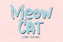 Cat Meow - 3 Font Plus Bonus Clip Arts Product Image 1