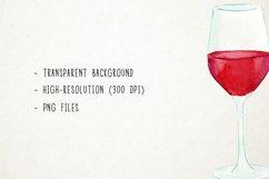 Watercolor Wine Clipart, Wine Clip Art, Wine Bottle Clipart Product Image 3