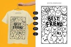 Best Friend Doodle T-shirt | SVG Product Image 1