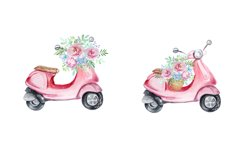 Watercolor Retro Red Moped Clipart Set Product Image 4