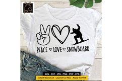 Peace Love Snowboard - Skier SVG DXF EPS PNG Product Image 2
