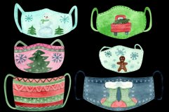 Christmas face mask clipart, Watercolor clip ar Product Image 5