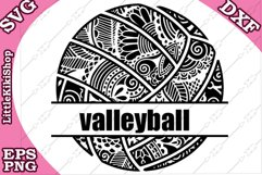 Volleyball Monogram Svg,Mandala Volleyball Svg,Zentangle Svg Product Image 1