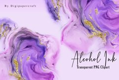 Pink Alcohol Ink Clipart, Metallic gold ink, PNG ink Clipart Product Image 2