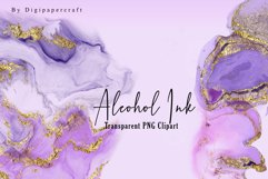 Pink Alcohol Ink Clipart, Metallic gold ink, PNG ink Clipart Product Image 4
