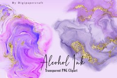 Pink Alcohol Ink Clipart, Metallic gold ink, PNG ink Clipart Product Image 6