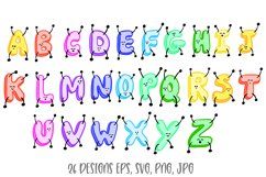 Jumping ABC Alphabet Cartoon Characters! SVG, PNG, JPG, EPS Product Image 3