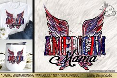 American Mama Sublimation Design Retro Wings with Brush Strokes Stars Stripes and Glitter Tshirt Sublimation Design