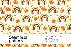 Fall Rainbow Seamless Pattern - Pumpkin Pattern Design Product Image 1