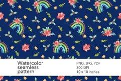 Watercolor Christmas Rainbow Seamless Pattern - Xmas Pattern Product Image 1