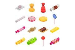 Sugar candy icon set, isometric style Product Image 1