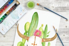 Watercolor cactus and longhorns clipart Product Image 3