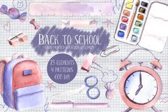 Back to school Watercolor Clipart Hand Painted Illustrations Product Image 1