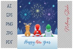 Santa Claus, Reindeer and Snowman watching the Fireworks. Product Image 2