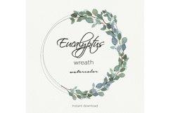 Eucalyptus watercolor wreath, Eucalyptus garland, Greenery Product Image 4